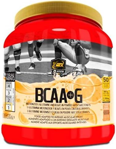 MTX nutrition BCAAS + G R.GOLD [500 g.] Naranja - Aminoácidos PREMIUM de Cadena Ramificada (50%) + L- Glutamina (50%) KIOWA_Quality en polvo ...
