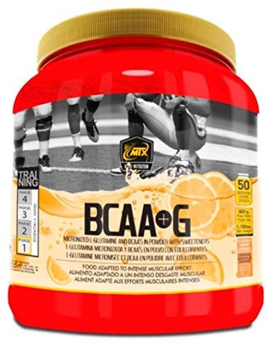 MTX nutrition BCAA'S + G R.GOLD [500 g.] Naranja - Aminoácidos PREMIUM de Cadena Ramificada (50%) + L- Glutamina (50%) KIOWA_Quality en polvo aromatizados.