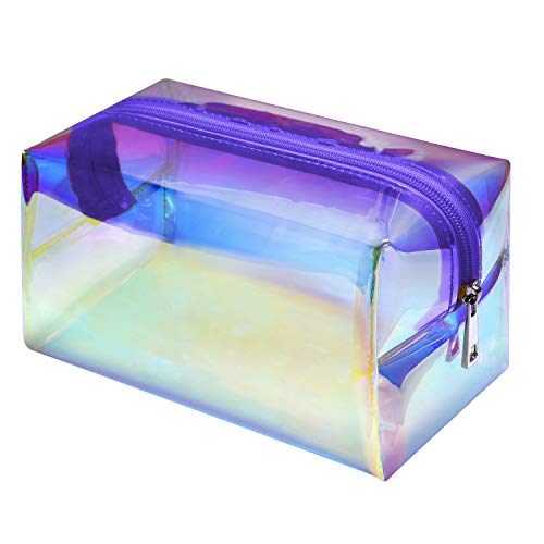 Makeup Bag, F-color Fashion Holographic Cosmetic Travel Bag Large Toiletry Bag Makeup Organizer for Women, Purple