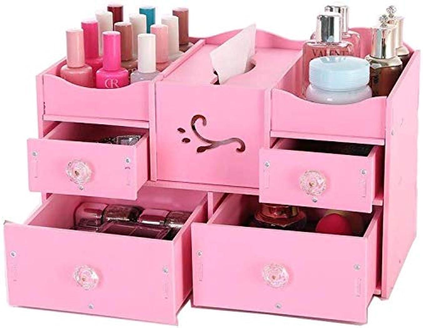 リベラル自然通信する化粧品オーガナイザー引き出しタイプ化粧品収納ボックス化粧台デスクトップ化粧品スキンケア収納ボックス仕上げボックス棚(色:PINK)