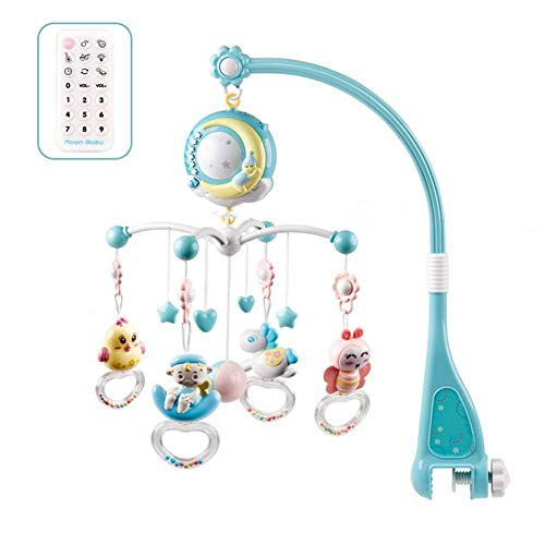 Babybett Mobile Musik Mit Projektionsfunktion Und Nachtlicht, Hängender Rotierender Beißrassel Und 150 Melodien Spieluhr Mit Fernbedienung, Spielzeug Für Neugeborene 0-24 Monate