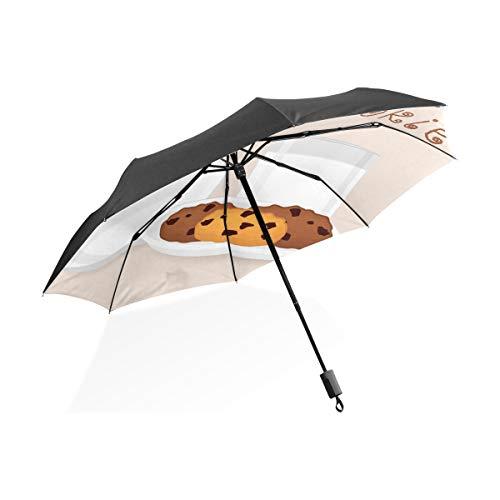 Auto Regen Regenschirm Glas Süße Milch Und Keks Tragbare Kompakte Taschenschirm Anti Uv Schutz Winddicht Outdoor Reise Frauen Frauen Regenschirme