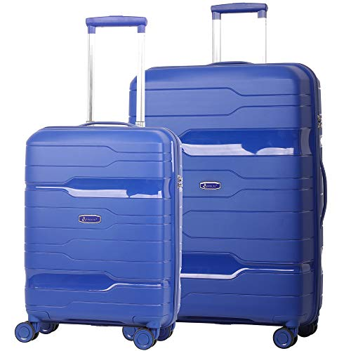Aerolite Premium Hard Shell 8 Wheel Suitcase with Built in 3 Digit TSA Combination Lock & Waterproof Interior Pocket - 21' Hand Cabin + Large 28' Hold Check in 2 Piece Luggage Set (Navy)