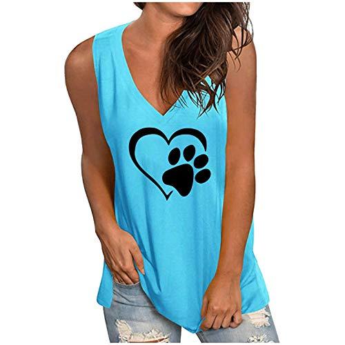 Masrin Damen Weste V-Ausschnitt Herz Hund Pfotenabdruck Shirts Sommer lose lässig ärmellose Tanktops Bluse (XXXL,Blau)