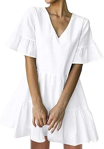FANCYINN Women White Cute Shift Dress Short Bell Sleeve Ruffle Hem V Neck Loose Swing Tunic product image