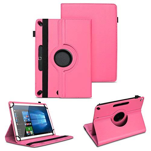 NAUC Tablet Tasche kompatibel für Acepad A96 Hülle Schutzhülle aus hochwertigem Kunstleder Standfunktion 360° Drehbar Universal Case, Farben:Pink