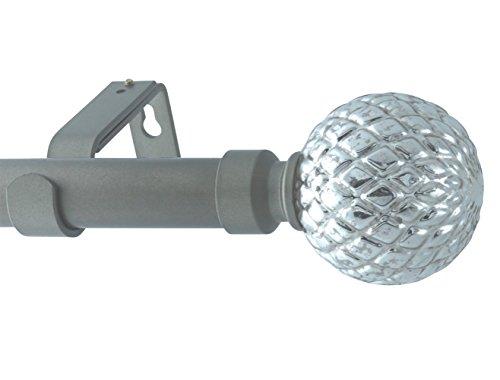 MERIVILLE 1-Inch Diameter Single Window Treatment Curtain Rod, Mercury Lattice Ball Finial, 28-inch to 48-inch Adjustable, Gunmetal