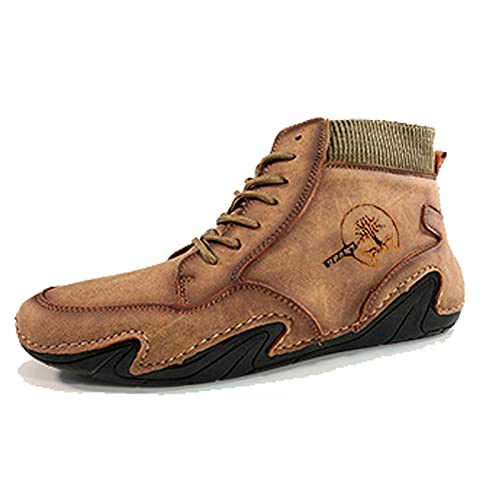 Men's Breathable Mid-Cut Boots, British Style Men's Short Boots Tooling Shoes,US 10 Tan,