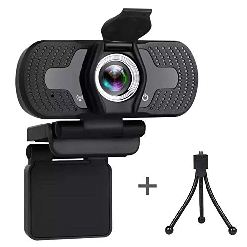 Full HD 1080P Webcam-with-Microphone for Desktop Laptop, USB Web Camera for Remote Conference Teaching Calling Gaming Streaming Video-Package Include-1 Webcam, 1 Privacy Shutter, 1 Tripod