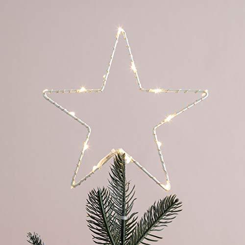 Lights4fun Puntale per Albero di Natale a Stella con Micro LED Bianchi Caldi a Pile