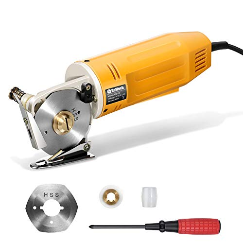 RoMech Mini Electric Cloth Cutter, Rotary Blade Fabric Cutting Machine, Octagonal Knife, Electric Rotary Scissors for Multi Layer Leather Wool (RM-031)
