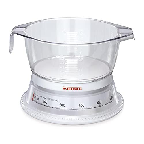 Soehnle Analoge Küchenwaage Vario, aus Kunststoff mit abnehmbarer Wiegeschale, Haushaltswaage mit zwei Messkalen, Küchenwaage analog mit 500g Tragkraft
