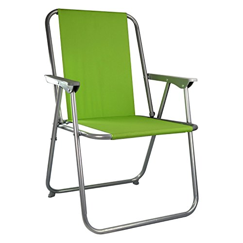 ASAB Folding Garden Patio Spring Deck Chair With Arms & Comfortable Fabric Seat Picnic Camping Beach Fishing Outdoor - Green