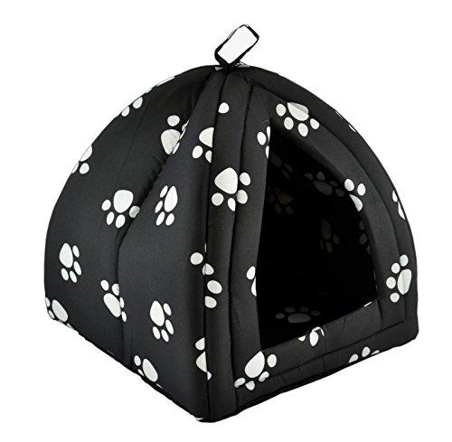 Möbelbörse Hundehütte Hundehöhle Hundehaus Hundebox Katzenhaus Haustier Hundebett Hunde Katze Waschbar Bei 40°C ((S): 30x30x34cm, Schwarz)