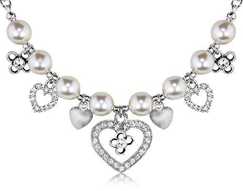 LUISIA® Collier mit Perlen, Herzanhängern und Kristallen von Swarovski® - Schmuck Halskette zur Hochzeit als Brautschmuck, zu Dirndl und Trachten