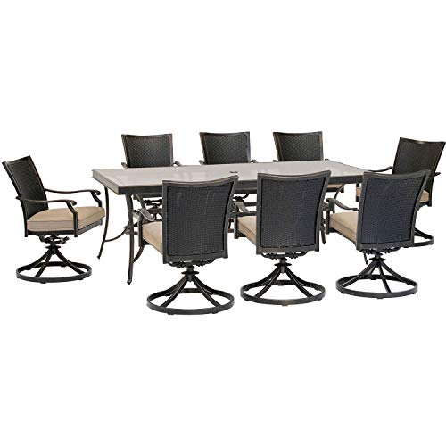 Hanover TRADDNWB9PCSWG-TAN Traditions 9-Piece Tan with 8 Wicker Back Swivel Rockers Outdoor Dining Set