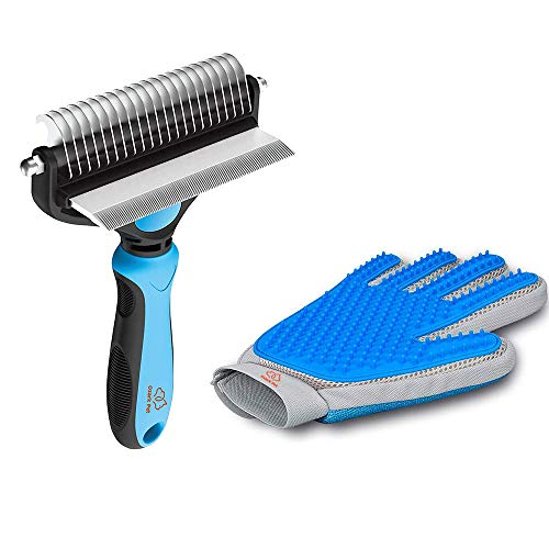 Pet Grooming Kit for Dog and Cat with 2 Sided Grooming Brush and 2 Sided Grooming Glove for De-Shedding, De-Matting and Cleaning All Pet Hair Effectively (Small, Blue)