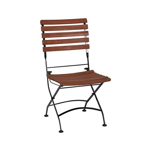 greemotion Klappstuhl Borkum akazie, Stuhl mit Stahlgestell in Schwarz, klappbarer Gartenstuhl, Balkonstuhl aus FSC® zertifiziertem Akazienholz, witterungsbeständig und pflegeleicht