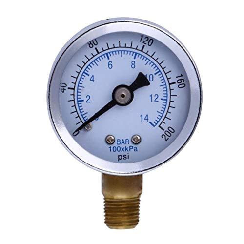 200 PSI Manometer Kraftstoff-Luftverdichter Meter Hydraulikdrucktester Doppelskala Druckmesser für Kraftstoff Luft Öl Flüssig