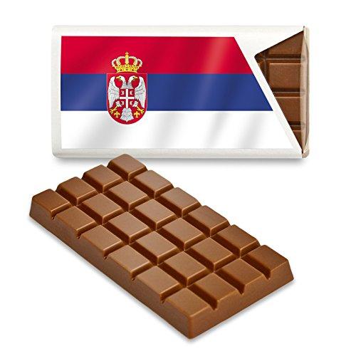 12 kleine Tafeln Schokolade - Fanartikel Süßigkeiten - Große Auswahl Länder, Nationen, Fahnen - Vollmilch (Serbien)