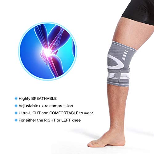 Neotech Care Knee Brace Sleeve (1 Unit) - Light, Elastic & Breathable Fabric - Adjustable Compression Wrap Around Strap - for Men, Women, Youth - Right or Left Leg - Grey (Size M)