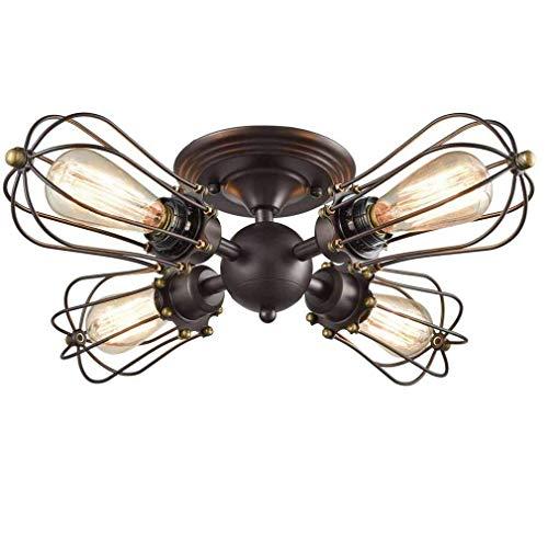 ACZZ Lampada da soffitto a semirigido in metallo con gabbia metallica industriale di Motent Lampada da soffitto a forma di ventaglio, lampada da