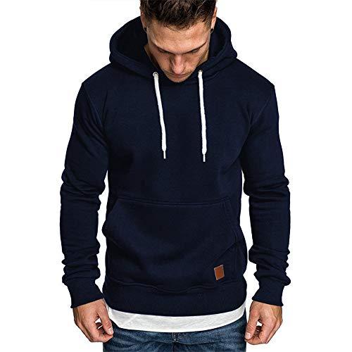 Herren Sweatshirt Kapuzenpullover Pullover Hoodie Hoher Kapuzenansatz Känguru-Tasche Gerippte Ärmel und Abschlussbündchen Sweatjacke Casual Streetwear Basic Style, Marine, XXL