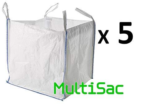 MULTISAC. 5 Big Bag 90x90x90cms. FIBC 1000 KG Idéal pour la gestion des débris, la pêche, le transport en zone aride, etc.