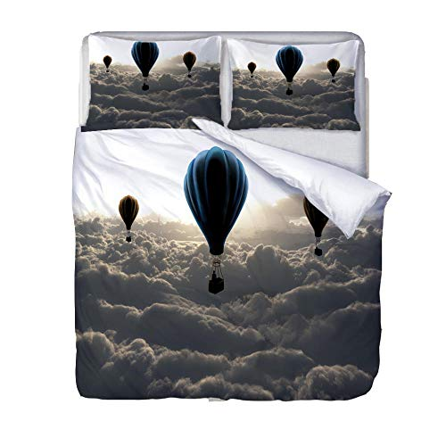 Printed Duvet Cover Double bed Gray hot air balloon clouds Children's rooma and bedroom Bedding boy girl Soft 3 pcs set Easy Care Duvet Cover Set with Zipper Closure
