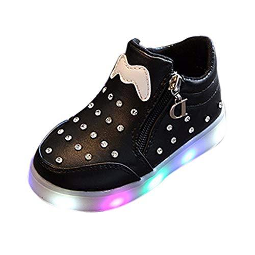 Sneaker Kinder Mode Mädchen Jungen Leuchtend LED rutschfeste Sport Lichter Blinkende Schuhe Turnschuhe Lässige Schuhe Herbst Winter Süß Bart Kristall Reißverschluss Babyschuhe Piebo Ausverkauf