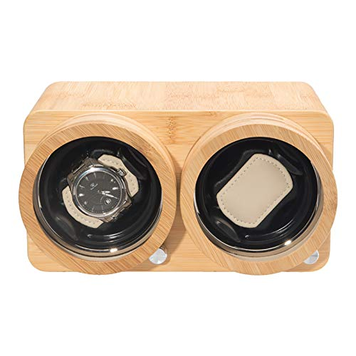 Reloj Winder Reloj Windoer - Relojes de doble tragamonedas Desarrollo de bobinado Relojes de madera Caja de almacenamiento Dual Power Watch Shaker Silent Motor Watch Pantalla Pantalla Pantalla Organiz