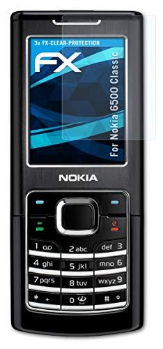atFolix Schutzfolie kompatibel mit Nokia 6500 Classic Folie, ultraklare FX Bildschirmschutzfolie (3X)