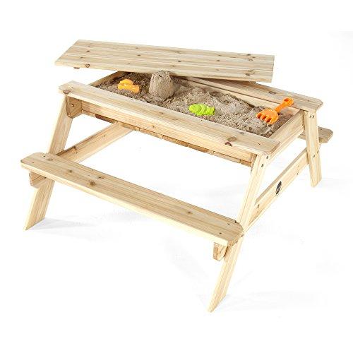 Plum Outdoor-Spieltisch aus Holz, Sandkasten und Picknicktisch