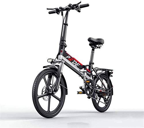 Bicicleta eléctrica de nieve, Bicicleta eléctrica de 20 pulgadas de aleación de aluminio plegable bicicletas eléctricas 400W 48V 10.4a batería de la bici de montaña eléctrica Batería de litio Playa Cr