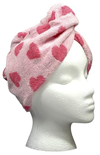 Turbie twist Cotton Hair Towel (Pink Heart Light)