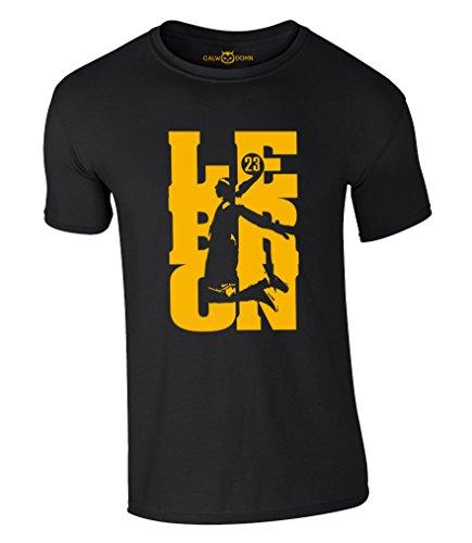 Lebron James T-Shirt 23 King LBJ Cleveland Cavaliers Cavs Jersey Trikot Basketball Shirt (XL, Schwarz)
