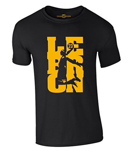 Lebron James T-Shirt 23 King LBJ Cleveland Cavaliers Cavs Jersey Trikot Basketball Shirt (L, Schwarz)