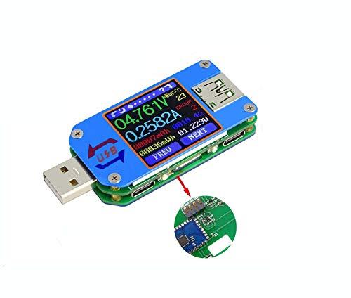 DollaTek UM25C USB-Voltmeter, Bluetooth-Typ-C-USB-Tester Meter USB-Spannungsmesser und Stromtester, 1,44 Zoll 5A LCD-Leistungstester-Multimeter, QC 2.0 3.0