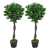 Paio di foglie artificiali Topiary Bay Laurel Ball Trees, Green Twist, 90 cm