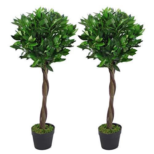 Par de Hojas de árbol Artificial Topiary Bay Laurel Ball Trees, Giro Verde, 90 cm