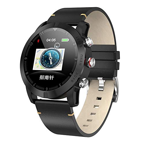 Reloj Inteligente de Negocios/IP68 Impermeable Multi-Sports Fitness Tracker/Monitoreo del Sueño/Pulsera Multifuncional-black_leather