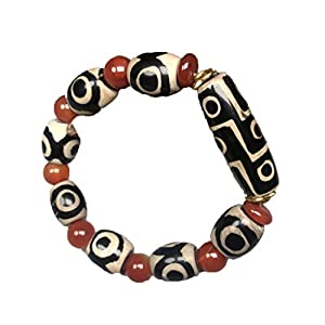 ZHIBO Armreif mit tibetischem Achat, drei Augen, 9 Augen, dzi Perlen