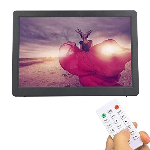 Digitale fotolijst, 15,4 inch elektronische fotolijst 1280 * 800 (16: 9), digitale HD-fotolijst met afstandsbediening Wifi klok / kalender / JPG / JPEG / AV / MPG / MP4. (EUBlack)