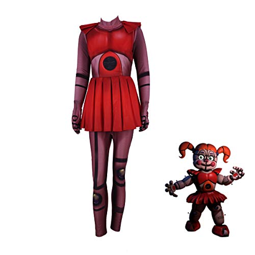 Circus Baby Costumes Five Nights at Freddy's Sister Cosplay Costume Halloween Costume for Womens Girls (Kids-L, red)