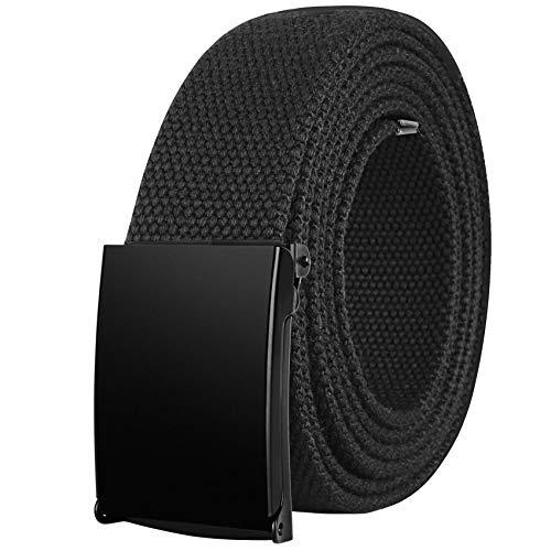 Drizzte 47'' Long Mens Plus Size Belts Canvas Colth Fabric Web Belt Black