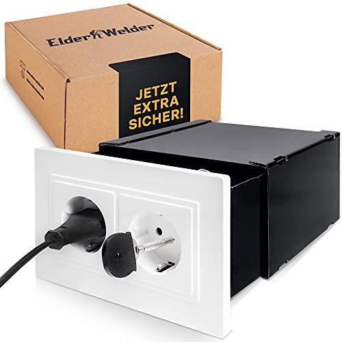 Elder Welder® Kleiner Steckdosentresor, Wandtresor zum Einmauern, Safe Tresor als Geheimfach, Steckdosen Safe für Geldversteck, Geheimversteck, Mini Wandsafe mit Schlüssel
