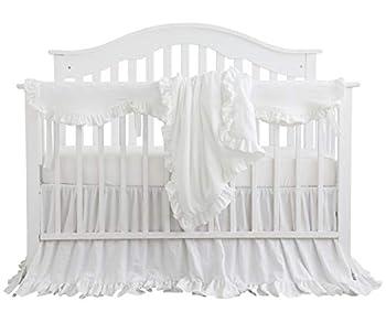 Blush Coral Pink Ruffle Crib Bedding Set Baby Girl Bedding Blanket Nursery Crib Skirt Set Baby Girl Crib Bedding Sheet  White 4 Pieces Set with Rail Cover