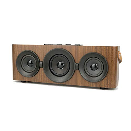 Wooden Bluetooth Speaker Portable Retro Outdoor Wireless Speaker with Portable Strap Dual Speaker Memory Player Handsfree Call FM Radio, TF Card Slot, AUX Best for Home Desktop,Black