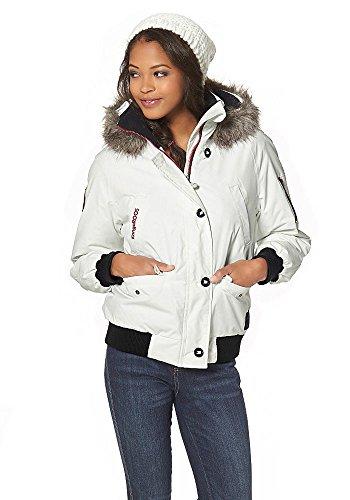 KangaROOS Damen Outdoor Jacke warm gefüttert abnehmbare Kapuze (38, Weiß)