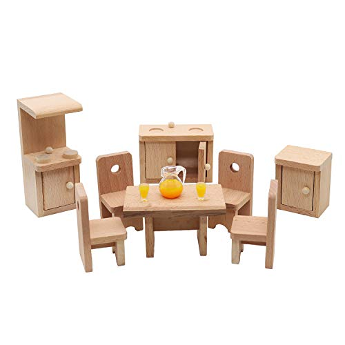 Warmtree Wooden Classic Mini House Furniture Wood Miniature Bedroom Set and Hair Styling Accessories Miniature House Furniture Fake House Decoration Accessories